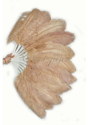 """wheat single layer Ostrich Feather Fan Burlesque friend 25""""x45"""" with gift box"""