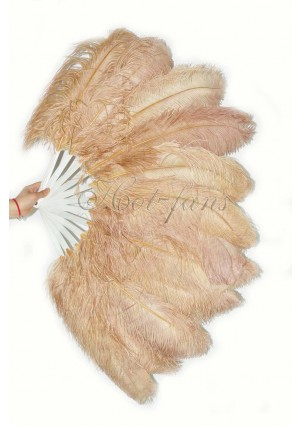"Beige camel single layer Ostrich Feather Fan Burlesque friend 25""x45"" with gift box"