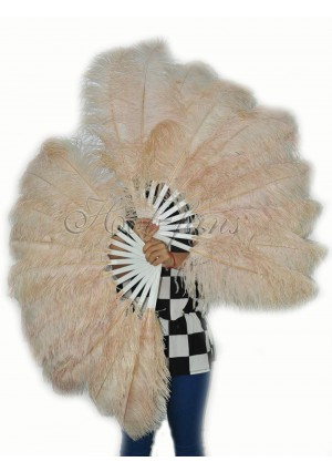 "A pair beige camel Single layer Ostrich Feather fan 24""x41"" burlesque dancer with gift box"