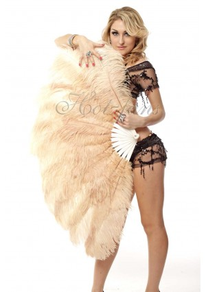 """camel 2 layers Ostrich Feather Fan Burlesque dancer friends 30""""x 54""""  with gift box"""