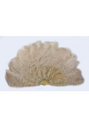 """beige camel Ostrich & Marabou Feathers fan Burlesque dance with carrying case 27""""x 53"""""""