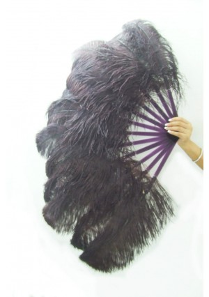"Coffee single layer Ostrich Feather Fan Burlesque friend 25""x45"" with gift box"