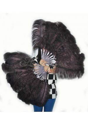 "A pair coffee Single layer Ostrich Feather fan 24""x41"" burlesque dancer with gift box"