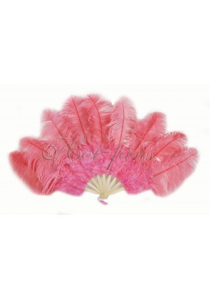 "Coral red Ostrich & Marabou Feathers fan Burlesque dance with carrying case 24""x43"""