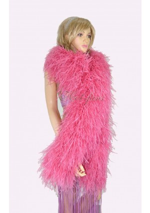 """Coral red 20 plys full and fluffy Luxury Ostrich Feather Boa 71""""long (180 cm)"""