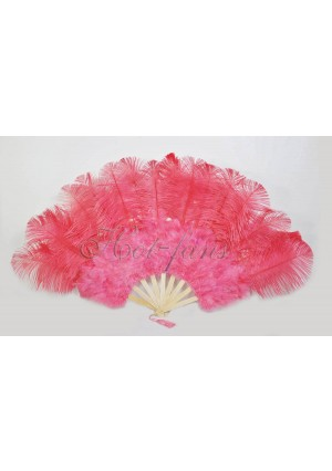 "Coral red Marabou Ostrich Feather fan primary Burlesque Dance 21""x38"" with gift box"