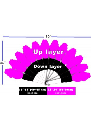 """Custom color & placement options XL 2 layers Ostrich Feather Fan 34""""x 60"""""""