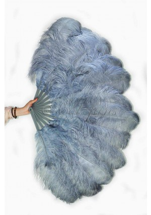 "dark gray 2 layers Ostrich Feather Fan Burlesque dancer friends 30""x 54""  with gift box"