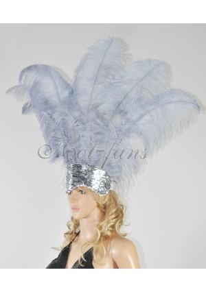 dark gray Sharp Angle Ostrich Feathers Open Face  Headgear Headdress