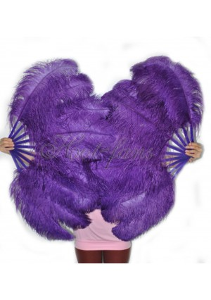 """A pair dark purple Single layer Ostrich Feather fan 24""""x41"""" burlesque dancer with gift box"""