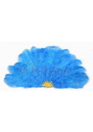 """Deep sky blue Ostrich & Marabou Feathers fan Burlesque dance with carrying case 27""""x 53"""""""