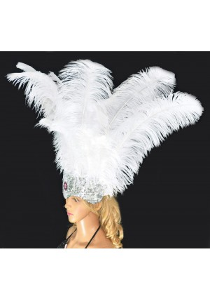 white Sharp Angle Ostrich Feathers Open Face  Headgear Headdress
