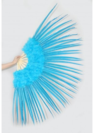 "blue Marabou and Pheasant  Feather Fan Burlesque Dance 29""x 53""  with Gift Box"