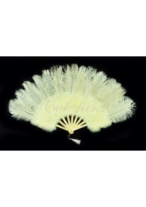"Beige Marabou Ostrich Feather fan primary Burlesque Dance 21""x38"" with gift box"