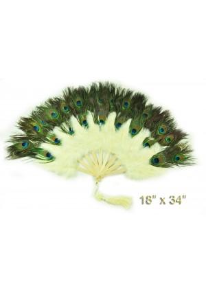 dusty beige Double faced Peacock Eye Marabou Feather Fan