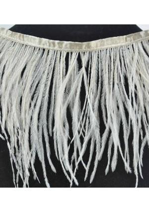 """Ostrich Feather Fringe (182 cm ) 2 yard trim 5""""-6"""" (13cm-15cm) in Beige"""