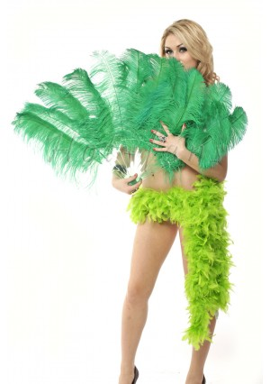"Emerald green single layer Ostrich Feather Fan Burlesque friend 25""x45"" with gift box"