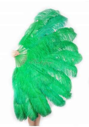 "emerald green XL 2 layers Ostrich Feather Fan Burlesque dancer friends 34""x 60"" with gift box"