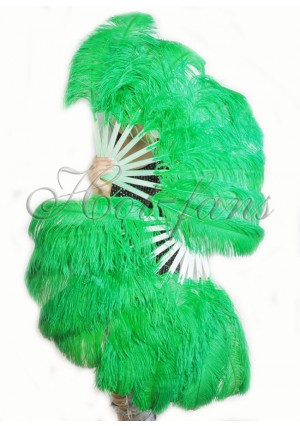 "A pair emerald green Single layer Ostrich Feather fan 24""x41"" burlesque dancer with gift box"