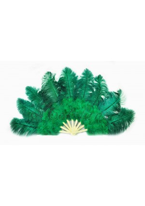 "Forest Green Ostrich & Marabou Feathers fan Burlesque dance with carrying case 24""x43"""