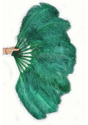 """forest green single layer Ostrich Feather Fan Burlesque friend 25""""x45"""" with gift box"""