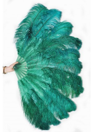 """forest green 2 layers Ostrich Feather Fan Burlesque dancer friends 30""""x 54""""  with gift box"""