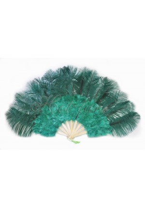 """forest green Marabou Ostrich Feather fan primary Burlesque Dance 21""""x38"""" with gift box"""