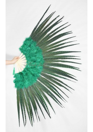 """green Marabou and Pheasant  Feather Fan Burlesque Dance 29""""x 53""""  with Gift Box"""
