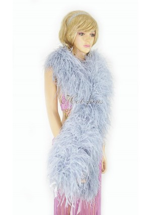 """Light gray 20 plys full and fluffy Luxury Ostrich Feather Boa 71""""long (180 cm)"""