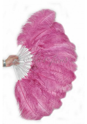 "fuchsia single layer Ostrich Feather Fan Burlesque friend 25""x45"" with gift box"