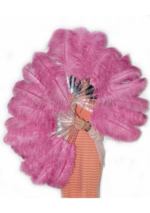 "A pair fuchsia Single layer Ostrich Feather fan 24""x41"" burlesque dancer with gift box"