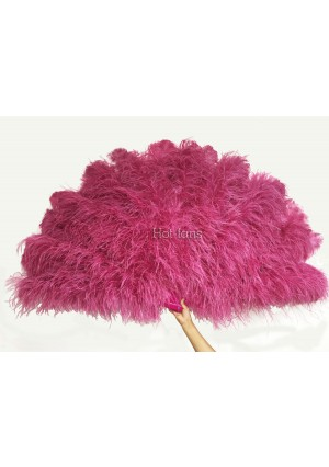 Fuchsia Luxury 4 Layers  Ostrich Feather Fan fluffy with Boa Opened 67'' Burlesque