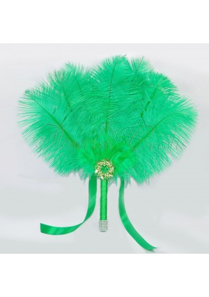 Emerald Green Bridal Bouquet Ostrich Feather Fan Bridesmaid wedding favors