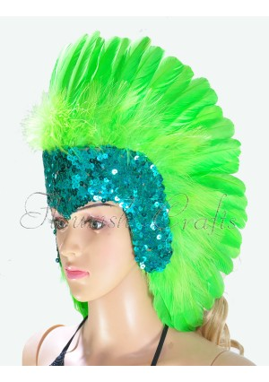 green feather sequins crown las vegas dancer showgirl headgear headdress