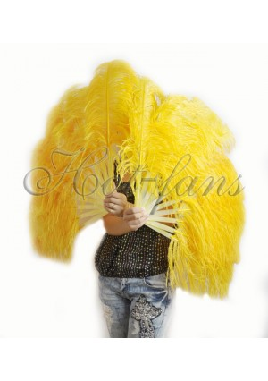 """A pair gold yellow Single layer Ostrich Feather fan 24""""x41"""" burlesque dancer with gift box"""
