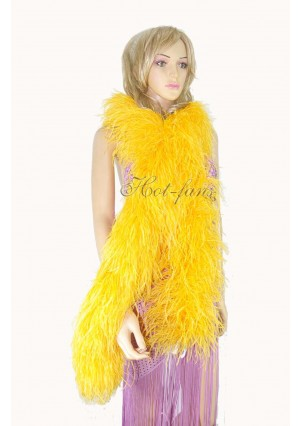 "10 plys gold yellow Luxury Ostrich Feather Boa 71""long (180 cm)"