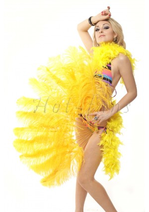 """gold yellow single layer Ostrich Feather Fan Burlesque friend 25""""x45"""" with gift box"""