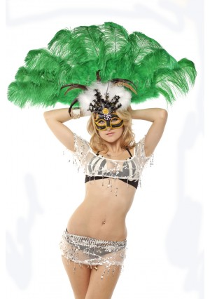 """emerald green Ostrich & Marabou Feathers fan Burlesque dance with carrying case 24""""x43"""""""