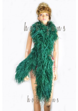"10 plys Forest Green Luxury Ostrich Feather Boa 71""long (180 cm)"