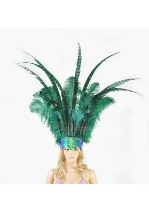 forest green Ostrich & Pheasant Feathers Sequins crown Open Face Headdress Show girl