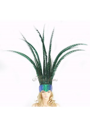 Green Open Face Pheasant Feathers Headdress headgear with Sequins crown