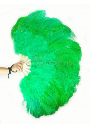 """emerald green Ostrich & Marabou Feathers fan Burlesque dance with carrying case 27""""x 53"""""""