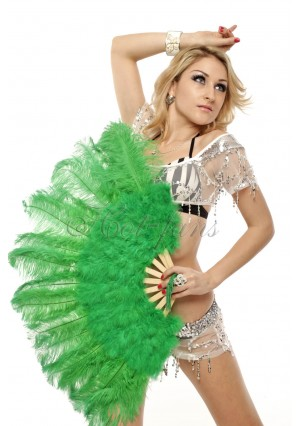 """green Marabou Ostrich Feather fan primary Burlesque Dance 21""""x38"""" with gift box"""
