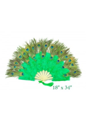 green Double faced Peacock Eye Marabou Feather Fan