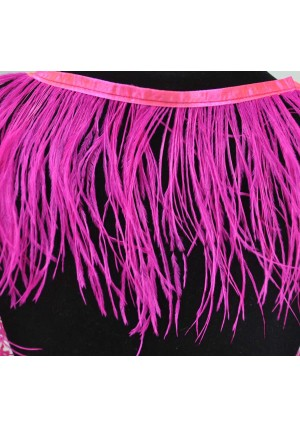 "Ostrich Feather Fringe (182 cm ) 2 yard trim 5""-6"" (13cm-15cm) in Hot pink"