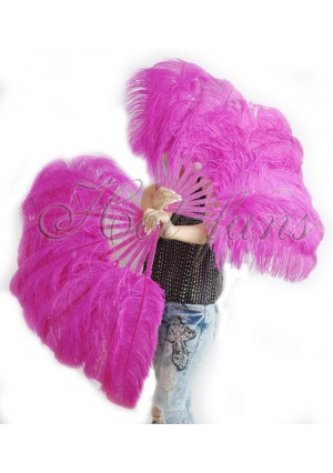 "A pair hot pink Single layer Ostrich Feather fan 24""x41"" burlesque dancer with gift box"