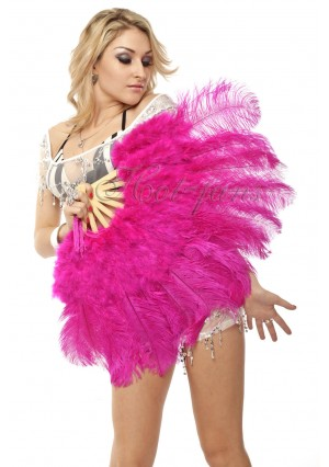 "hot pink Marabou Ostrich Feather fan primary Burlesque Dance 21""x38"" with gift box"