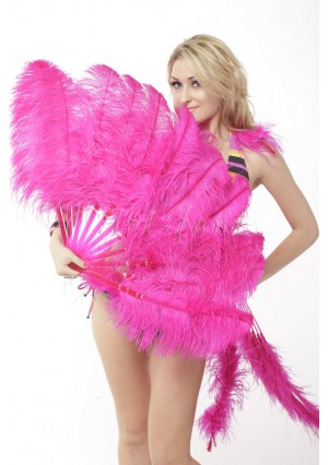 "hot pink single layer Ostrich Feather Fan Burlesque friend 25""x45"" with gift box"