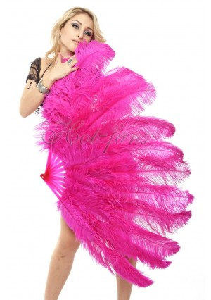 """hot pink 2 layers Ostrich Feather Fan Burlesque dancer friends 30""""x 54""""  with gift box"""