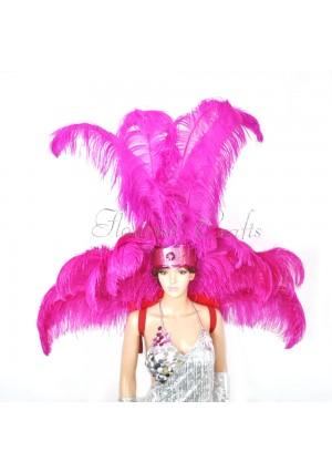 Hot pink Ostrich Feather Open Face Headdress & backpiece Set